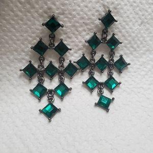 Green stoned chandelier earrings